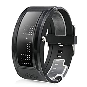 Soleasy White LED Programable Display Black Silicone Band Wrist Watch WTH0307