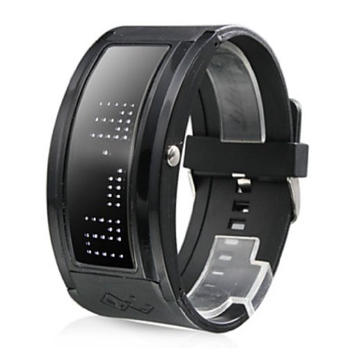 Soleasy White Led Black Band Wrist Watch With 10 Character Display Wth0307