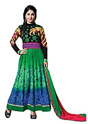Kashmira Women's Faux Georgette Embroidered Unstitched Salwar Kameez (kas11006_Blue And Green_Free Size)