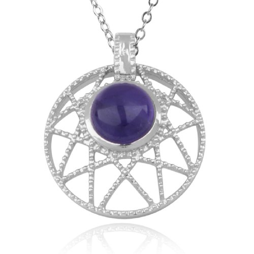 Sterling Silver Amethyst Round Pendant Necklace , 18