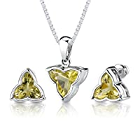 Ultimate Fashion: 6.75 carat Tri Flower Cut Lemon Quartz Pendant Earring Set in Sterling Silver Rhodium Nickel Finish from Peora