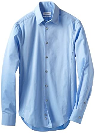 Calvin Klein Men's Body Slim Fit Dress Shirt, Afternoon Sky, 17.5/32-33