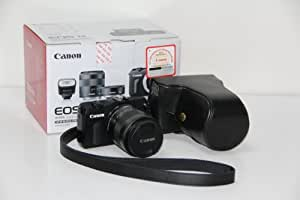 Camera Leather Case For Canon EOS M fit for 18mm-55mm (Black)