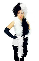 Cruella Fancy Dress Set Evil Dog Lady Black White Wig + 1x Black Glove 1x White Glove + Half Black Half White Feather Boa 80g Look Like Cruella De Ville Evil Movie Character Costume