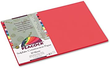 Pacon - Peacock Sulphite Construction Paper 76 lbs 12 x 18 Red 50 SheetsPack P6112 DMi PK