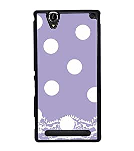 White Polka Dot Pattern Back Case Cover for SONY XPERIA T2