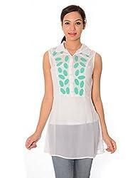 Oviya Women's White and Green Printed Tops