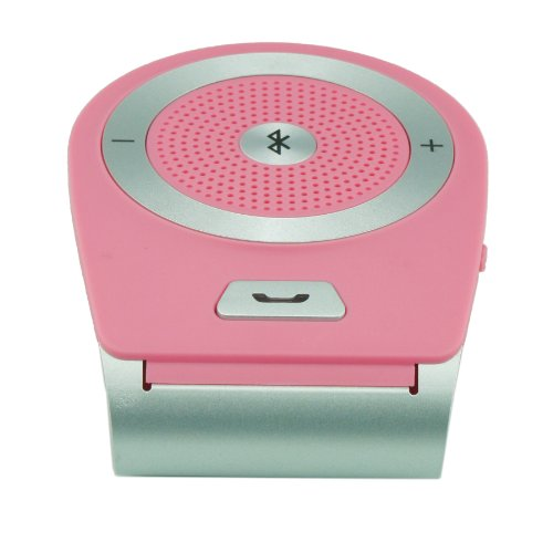 Hot Sale 2014 Bluetooth In-Car Speakerphone For All Apple Ipads/Iphone And Most Cell Phones Like Iphone 5S/5/4S/4 Android Samsung Galaxy S5 S4 S3 Note3 Lg G2 Nexus 5 Sony Xperia Z1 (Pink)