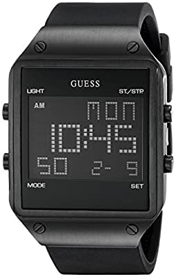 GUESS Men's U0595G1 Square Digital Watch with Black Silicone Band