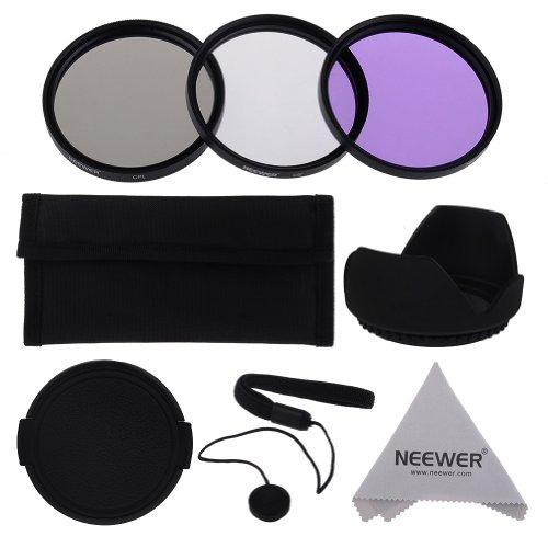 Neewer® 52mm Professional Lens Filter Accessory Kit for Canon Nikon Sony Samsung Fujifilm Pentax and Other DSLR Camera Lenses with 52MM Filter Thread – Includes Filter Kit (UV, CPL, FLD) + Filter Carry Pouch + Tulip Flower Lens Hood + Snap-On Lens Cap with Cap Keeper Leash + Microfiber Lens Cleaning Cloth