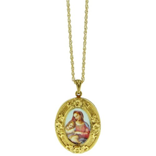Mary and Baby Jesus Floral Locket