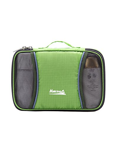 Makino Stylish Luxurious Hanging Toiletry Bag Orgnizer for Camping Large Capacity Travel Kit with Hook Water Resistant Bathroom Storage Organizer 5578 Green