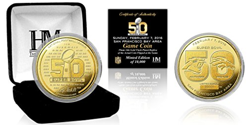 NFL Denver Broncos vs Carolina Panthers Super Bowl 50 Gold Flip Coin, Brown (Nfl Super Bowl Trophy compare prices)