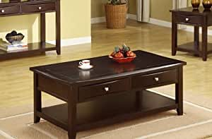 Coffee Table With Storage Drawers In Espresso
