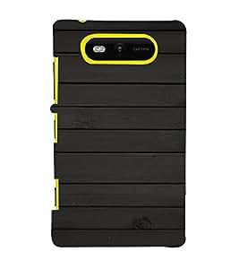 PrintVisa Carbon Wood Pattern 3D Hard Polycarbonate Designer Back Case Cover for Nokia Lumia 820