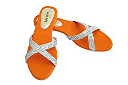 Bee Hive Womens Orange PU Flats (BHV-Criss-Cross-Rust-5) - 5 UK