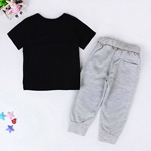 2pcs Kids Baby Boys Cotton T shirt + Pants Set Outfits Clothing 6-12Months Black