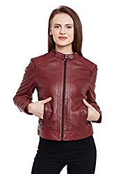 WOMEN'S RED DUAL FRONT POCKET LEATHER JACKET