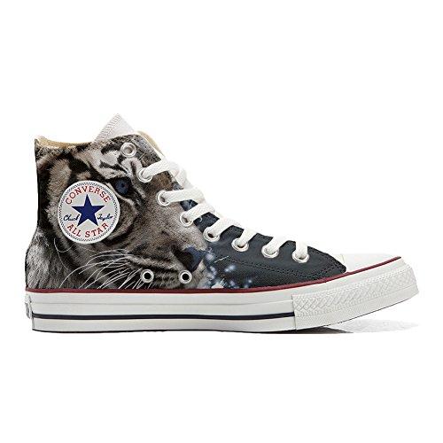 Converse All Star Hi Canvas, scarpe personalizzate (Prodotto Artigianale) con Tigre Bianca - TG42