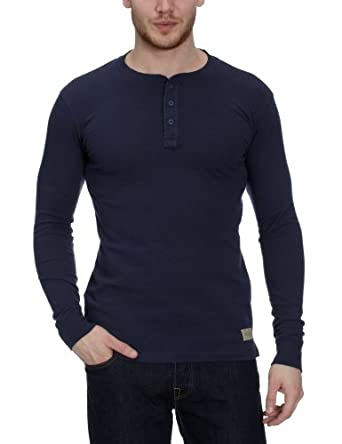 Jack & Jones Rugged Granddad Long Sleeve Men's T-Shirt Mood Indigo Small