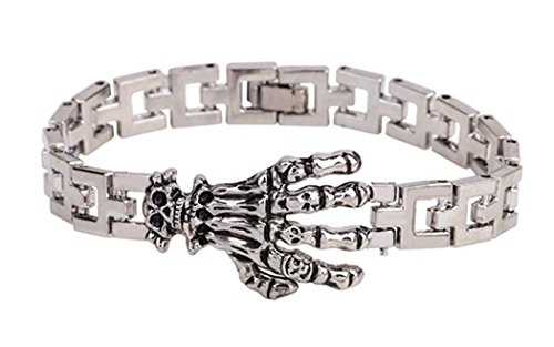 Veenajo Vintage Style Titanium Steel Bracelets Skeleton Paw Link Wristband for Men (Steel And Jelly Men compare prices)