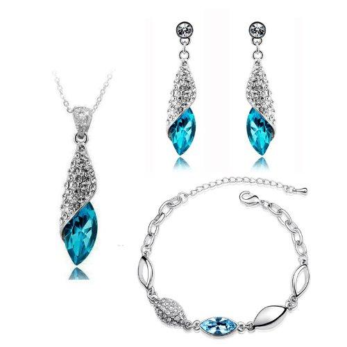 Bridal Jewellery Set Blue Crystal Teardrop Earrings Necklace & Bracelet S276