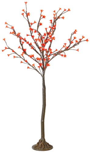 Arclite Nbl-130-1 Cherry Blossom Tree, 4.5' Height, With Natural Brown Trunk, Red Crystals And Red Lights