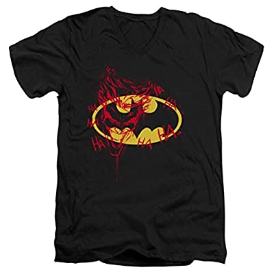 DC Batman Joker Graffiti Slim Fit V-Neck T-Shirt
