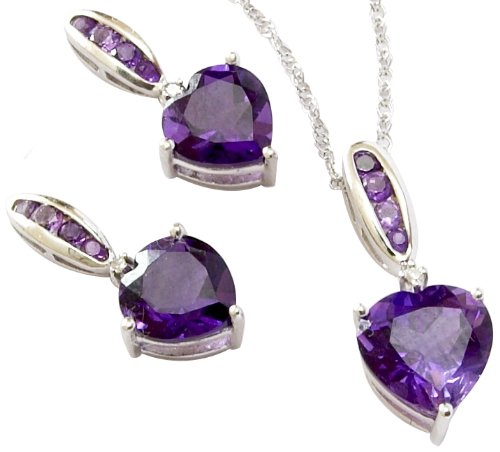 Amethyst Heart  &  Diamond Pendant  &  Earrings set in sterling silver. Pendant contains nearly 2ct of amethyst, measures approx. 20mm and hangs from an 18