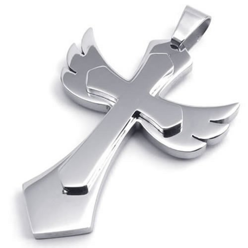 "24"" Konov Jewelry Stainless Steel Angel Wing Cross Mens Womens Pendant Necklace, 24 Inch Chain"