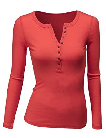 Doublju women 39 s crew henley neck long sleeve t for Best henley long sleeve shirts