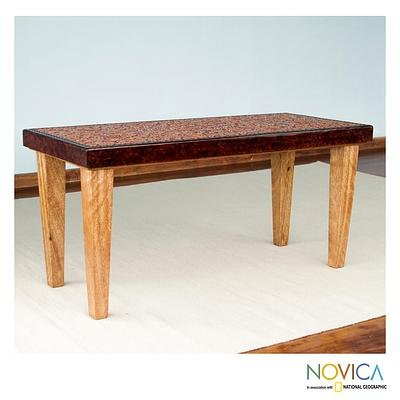 Cedar and leather coffee table, 'Colonial Marigold'