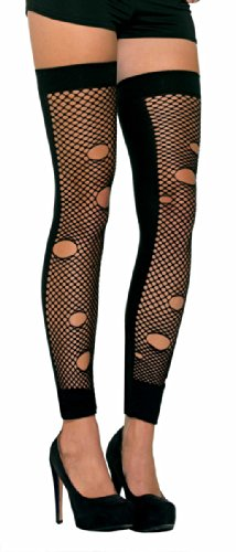 Forum Sexy Tattered Black Fishnet Thigh Highs Destroyed Stockings