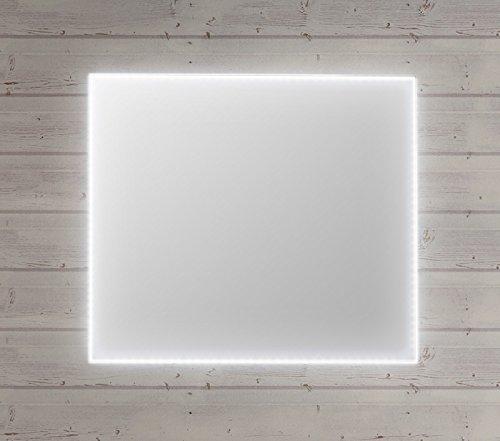 Specchio bagno con luce a led perimetrale interna e profilo in alluminio stella orizzontale - Specchio per bagno con luce ...