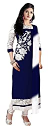 Clickedia Women's Faux Georgette Dress Material (Monika Navy blue & white_Multicolor_freesize)