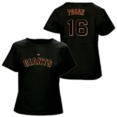 Angel Pagan San Francisco Giants Black Ladies Player T-Shirt by Majestic by Majestic