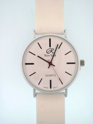 White Silicone Rubber Gel Watch Smooth Band With White, Clear Face