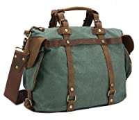 "CLELO Casual Canvas Messenger Shoulder Tote Bag with Real Leather Trim, Fit 14"" Laptop"