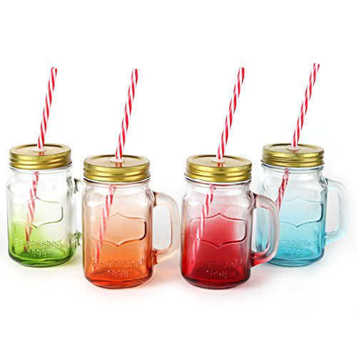 Mix Colors Mason Jar Mugs with Tin Lid and Plastic Straws. 17.5 Oz. Each. Old Fashion Drinking Glasses - Pack of 4. By Lily's Home® (Plastic Color Mason Jars compare prices)
