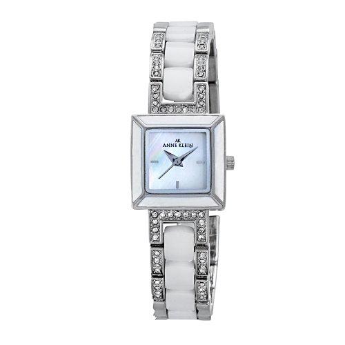 AK Anne Klein Women's 109413WTSV Swarovski Crystal Silver-Tone and White Ceramic Bracelet Watch