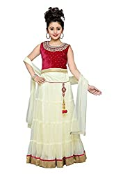 Aarika Girls' Self Design Premium Net Lehenga Choli and Dupatta Set (LCH-3012-RANI-AMUL_20_3-4 Years)