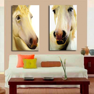 "001222 Canvas Art for Wall Decor – Original Oil Painting Giclee ""Camargue Horses"" by Lena Kashigin, Artist Hand finisheds and Signed Artwork, Ready to hang Wall Art, two panels, 20×32″ each"