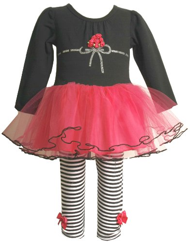 Bonnie Baby Infant Girls Knit Bodice Legging with Satin Flowers To Tulle Skirt, Black, 12 Months
