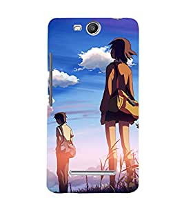 printtech Anime Movie Scene Couple Back Case Cover for MICROMAX CANVAS JUICE 3