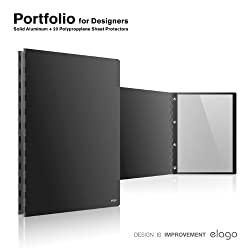 elago portfolio for professional artists (Holds letter size-8 1/2 by 11inches / A4 size-8.27 x 11.69 inches), satin aluminum finish (Black)