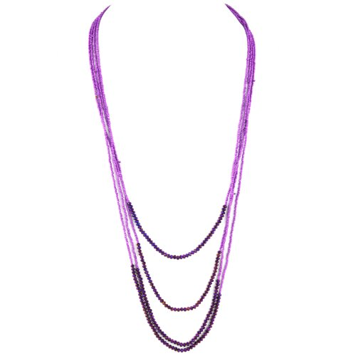 Long Multitier Beaded Necklace - Matte Violet & Deep Plum