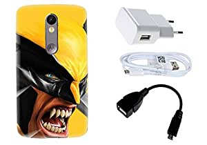 Spygen Motorola Moto X Force Case Combo of Premium Quality Designer Printed 3D Lightweight Slim Matte Finish Hard Case Back Cover + Charger Adapter + High Speed Data Cable + Premium Quality OTG