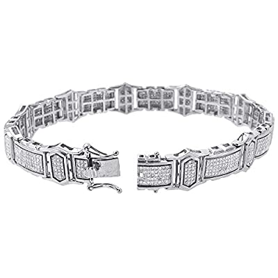 10K White Gold Round Cut Diamond 8.5 Inch Link Bracelet 2.08 Cttw