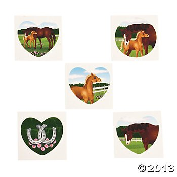 Horse Mare and Foal Temporary Tattoos - 72 pcs - 1