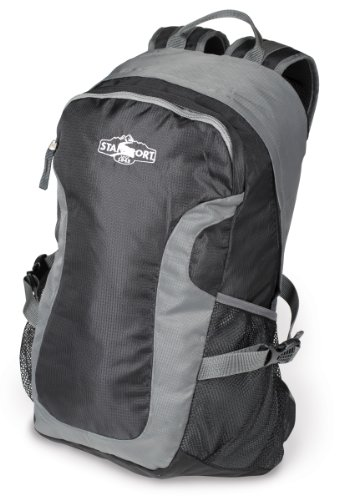 Stansport Odyssey Nylon Day Pack, Black\/Grey, 17 x 11 x 5-Inch (multicolor)